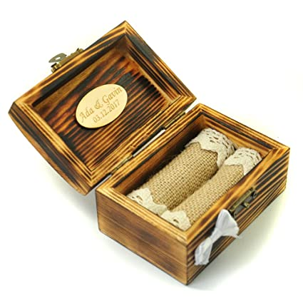 Amazoncom Personalized Wedding Ring Box Wooden Ring Holder