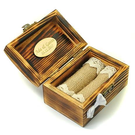 Amazon.com: Personalized Wedding Ring Box. Wooden Ring Holder ...