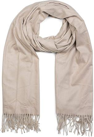 dba1257f71fa styleBREAKER Écharpe unie douce avec des franges, châle d hiver, étole,  foulard