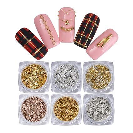 BONNIESTORE 6 Cajas de Clavos de Metal Remache de Perlas de ...