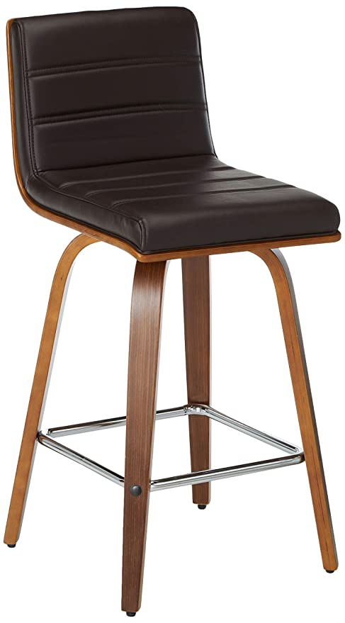 Wondrous Armen Living Vienna 26 Counter Height Barstool In Brown Faux Leather And Walnut Wood Finish Squirreltailoven Fun Painted Chair Ideas Images Squirreltailovenorg