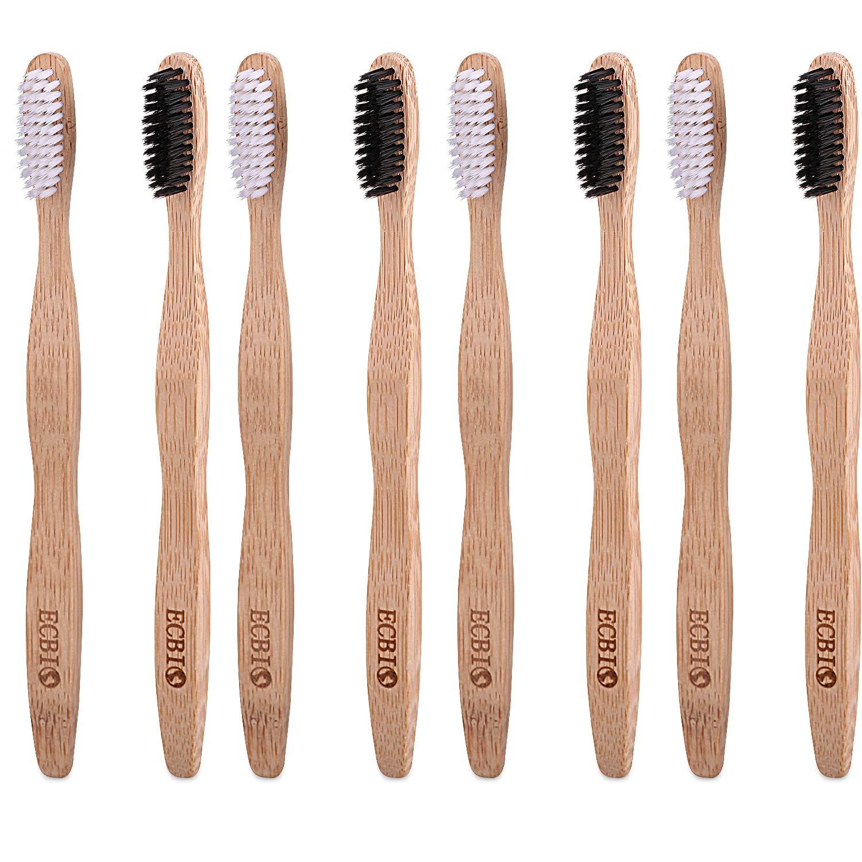 ECBIO Biodegradable Eco-Friendly Natural Bamboo Toothbrush Standard Nylon Bristles(Set of 2 White Black)