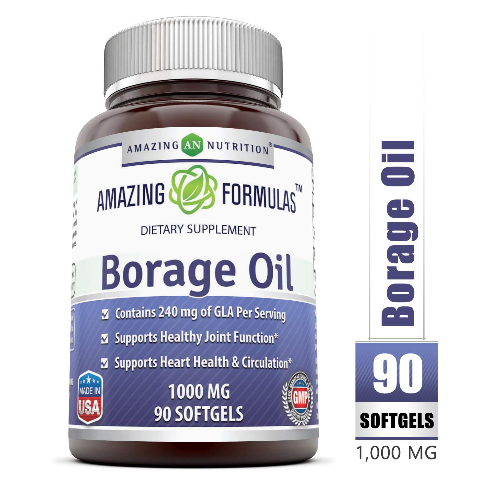 Amazing Formulas Borage Oil Dietary Supplement - 1000mg Capsules -90 SoftGels Per Bottle - 240mg Gamma Linoleic Acid (GLA) and 380mg Linoleic Acid -90 SoftGels Per Bottle