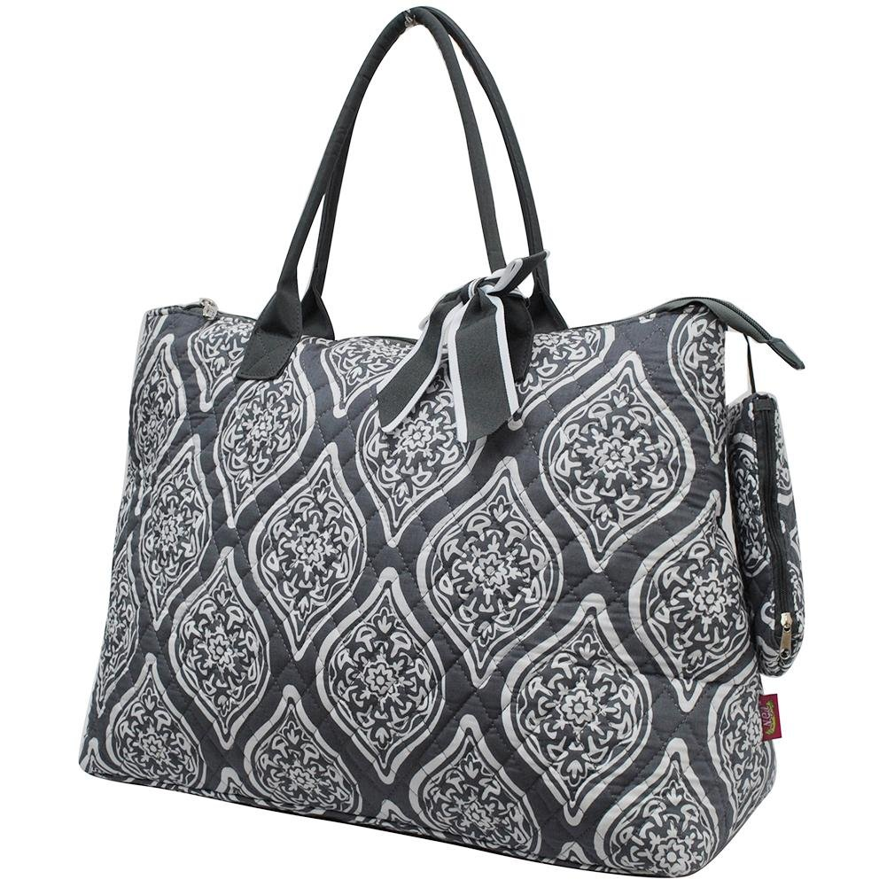 NGIL Quilted Cotton Extra Large Overnight School Tote Bag 2018 Spring Collection (Marquise in Bloom Grey) by NGIL (Image #2)