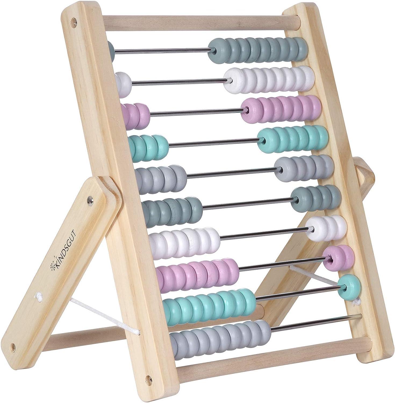Jeu /éducatif de calcul Kindsgut boulier abaque avec 100 Boules color/ées Bleu p/étrole