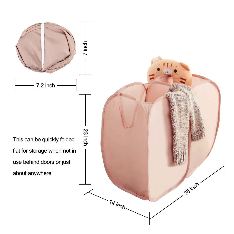 Wäschekorb, WOWGO 2 IN 1 Pop Up Wäschekorb Faltbarer Nylon Wäschebeutel Faltschachtel Aufbewahrung für Wäsche Spielzeug Auf Lager-braun