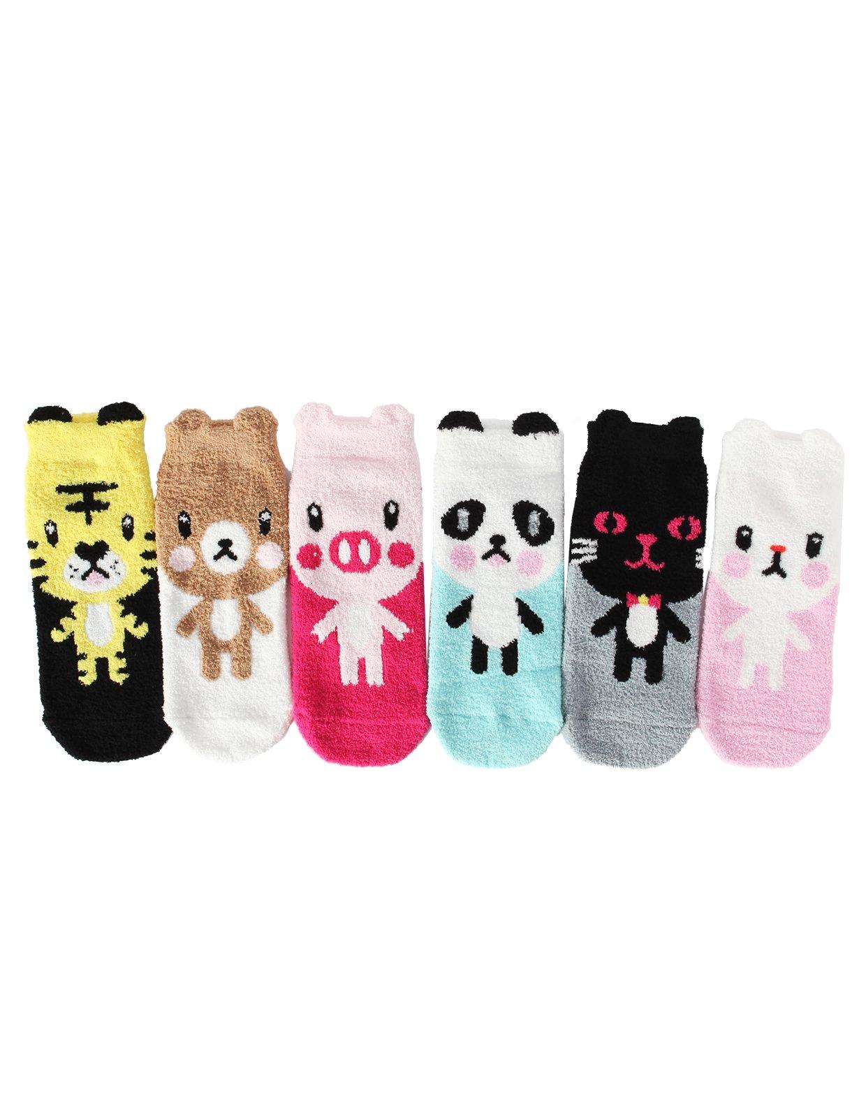 OSABASA 6 Pairs Pack Super Soft Cozy Fuzzy Winter Slipper Socks(KWMS0139)