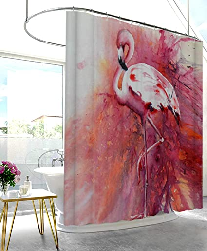 Amazon UHUSE Flamingo Fabric Shower Curtain Set Single Elegant