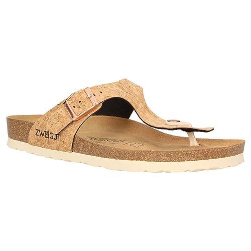 differently eff4b 8e374 Zweigut® -Hamburg- luftig #555 Damen Zehentrenner Sandalen Schuhe Sommer  mit Soft Leder-Komfort-Fußbett