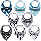 Baby Bandana Drool Bibs With Snaps (8 Pack) For Boys and Girls - Super Absorbent, Soft and Modern - Best Baby Shower Gift (BC071)