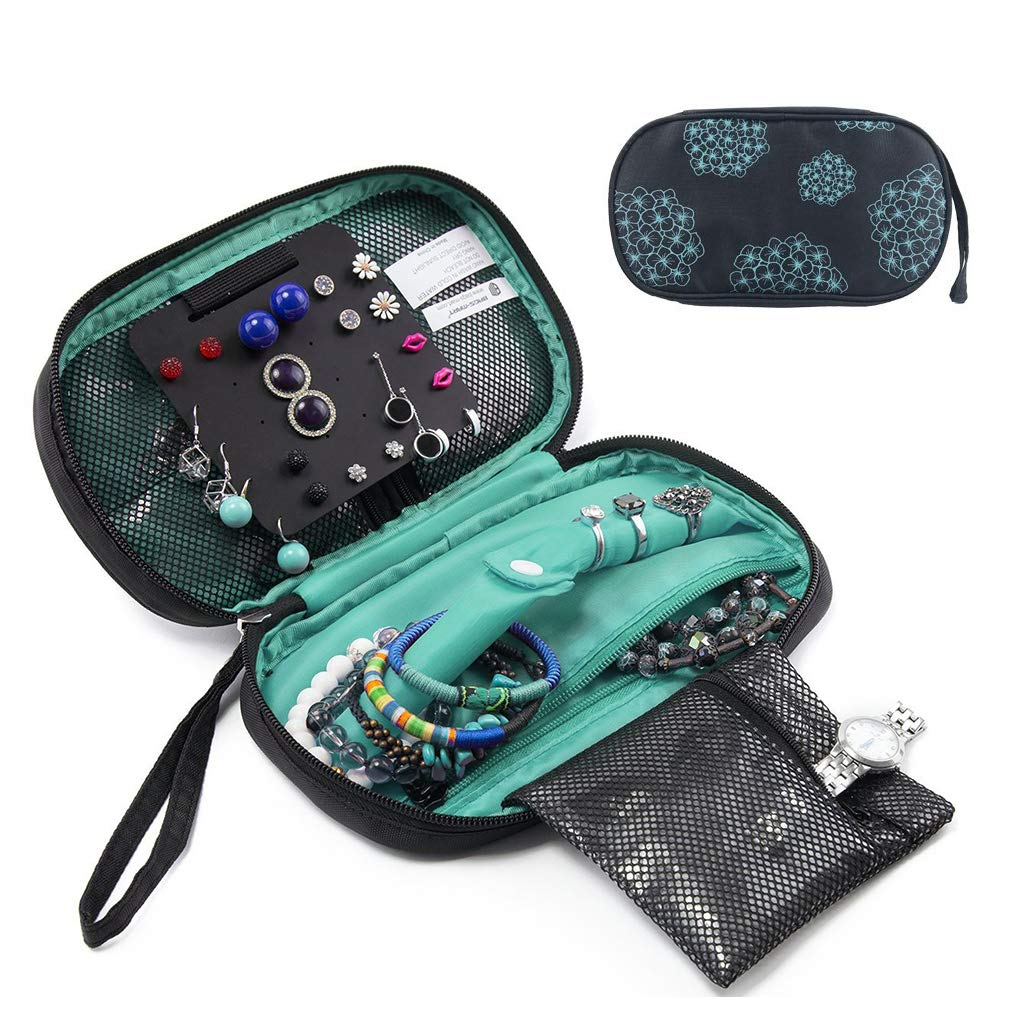 Suzanne George Travel Jewelry Organizer Case, Jewelry Storage Bag Earring Necklace Pouch for Women,Black by Suzanne George (Image #1)