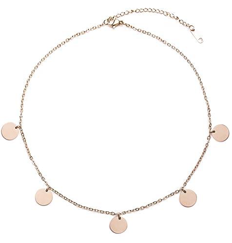 foto ufficiali 82f36 61108 Happiness Boutique Collana Circolare Oro Rosa | Collana con Pendenti a  Disco Design Geometrico