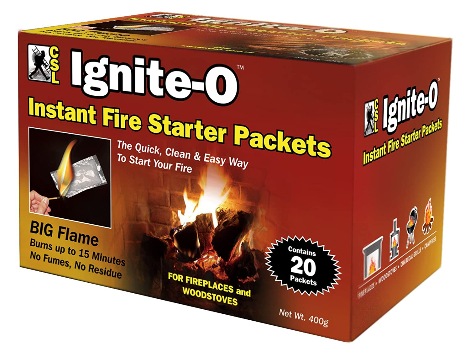 amazon com ignite o instant fire starter packets 20 packets 380g