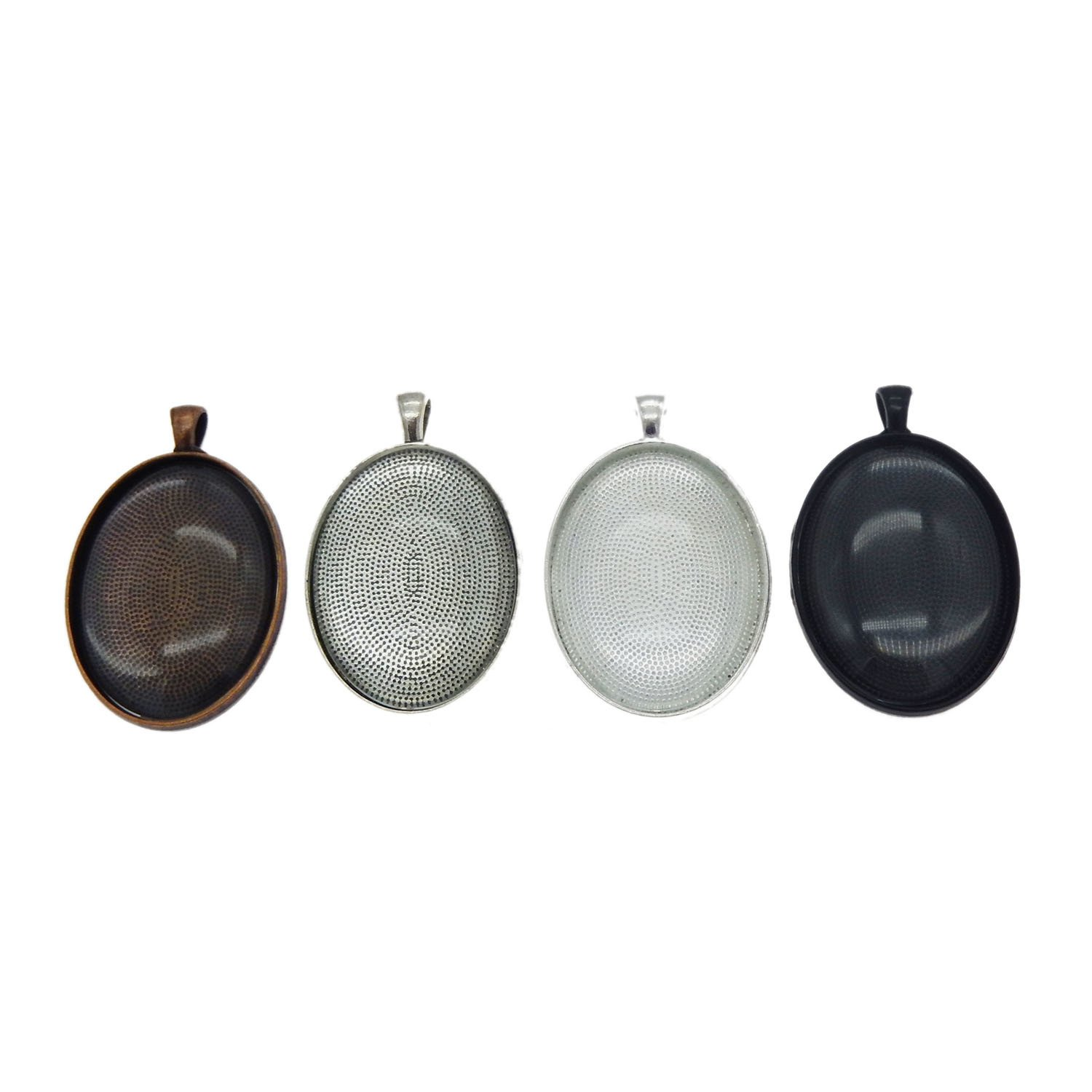 GraceAngie 8 Sets Mixed Oval Setting Tray Pendant with Glass Cabochons Black Bronze Silver for Jewelry Making