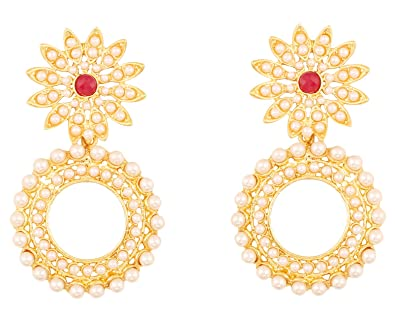 Buy touchstone indian bollywood attractive floral grand designer buy touchstone indian bollywood attractive floral grand designer jewelry chandelier earrings embellished with faux pearls and emerald in gold finish for mozeypictures Image collections