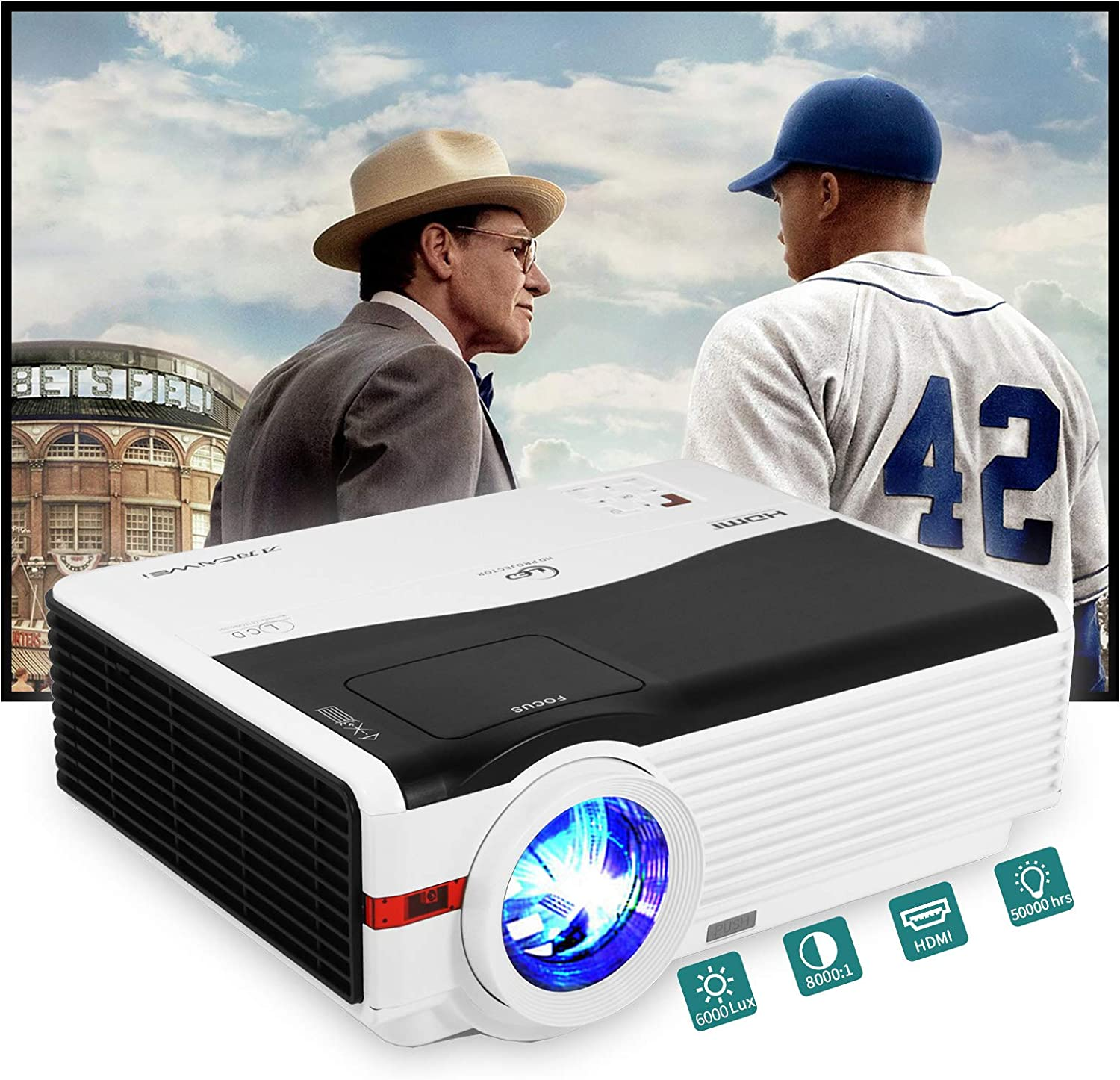 WiFi Bluetooth Projector HD 1080P Supported, 6000 Lumen LED Wireless Projector with Zoom, HiFi Speaker, Home Projector Compatible with Laptop, PS4, Smartphones, TV Stick, HDMI, USB for Outdoor Movie