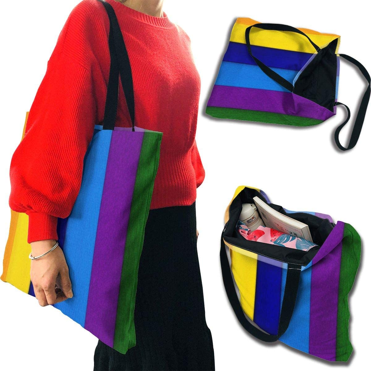 PengMin Hand Drawn Colorful Rainbow Fashion Womens Multi-Pocket Vintage Canvas Handbags Miniature Shoulder Bags Totes Purses Shopping Bags