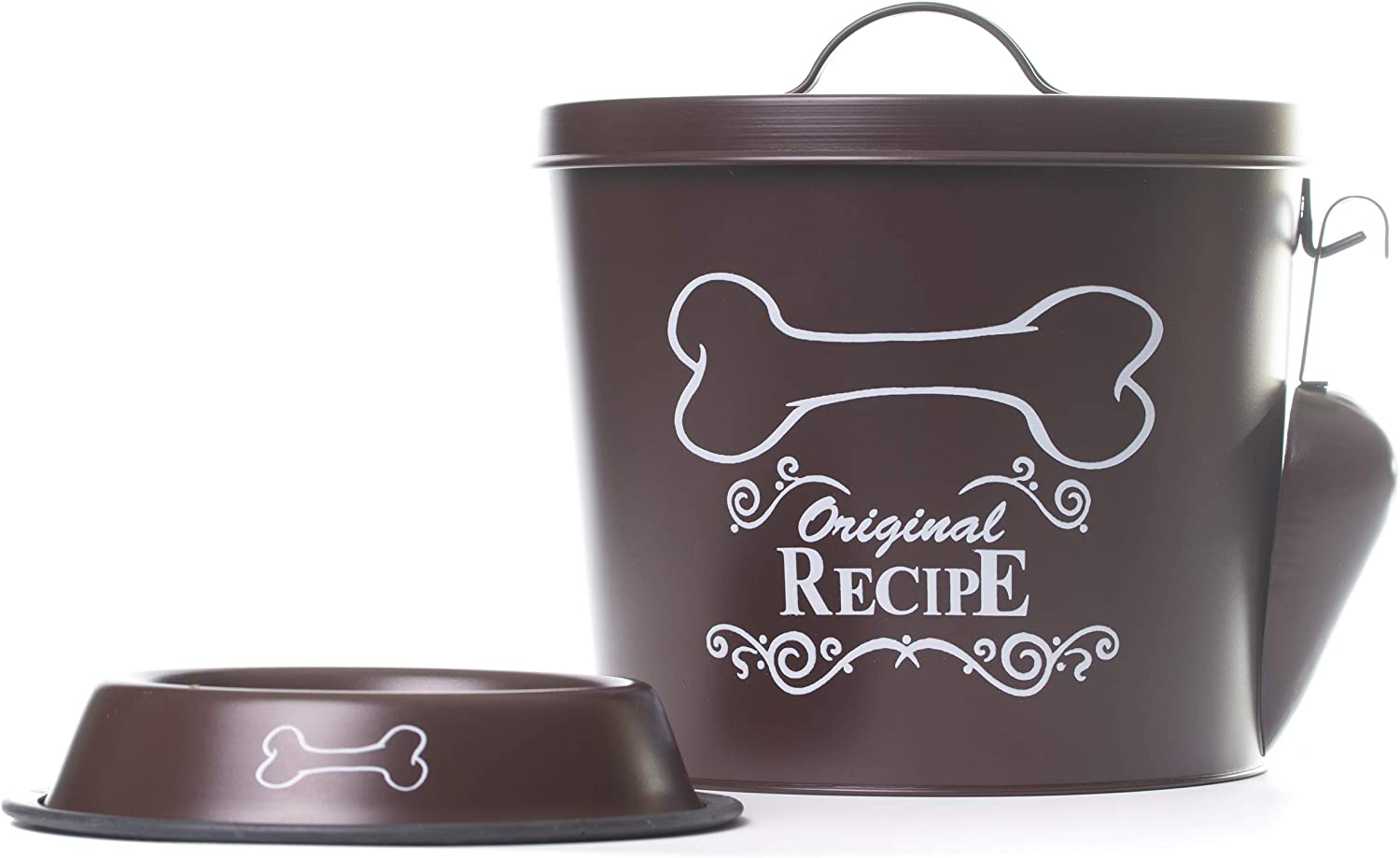 The PetSteel - Chocolate Dog Decorative Canister with Bowl and Scoop | Pet Food and Treat Container Storage Set | Airtight Lids | Fit's Up to 7 lbs of Treats or Food