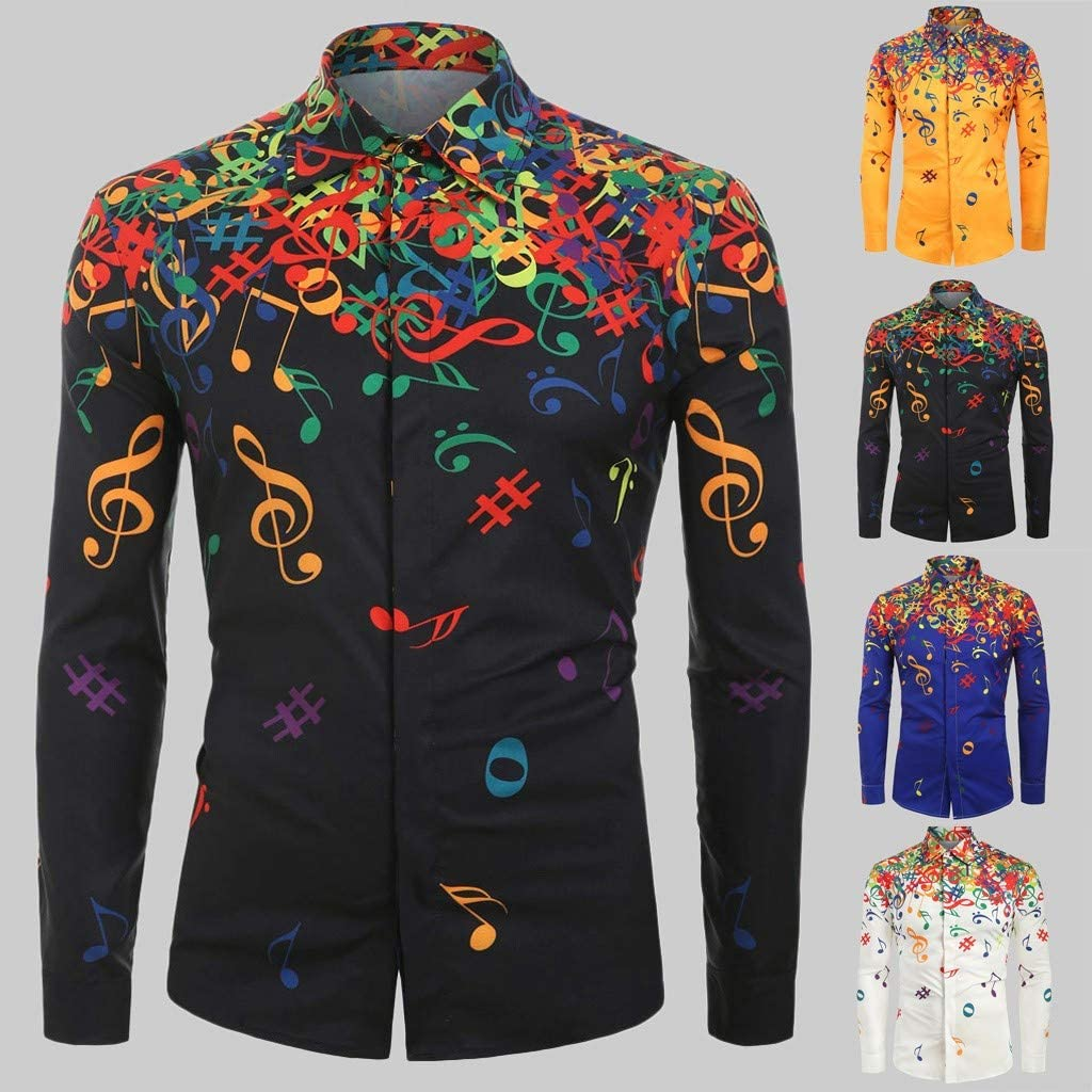 TIANRUN Men Casual Novelty Musical Note Pattern Long Sleeves Button Down Shirts