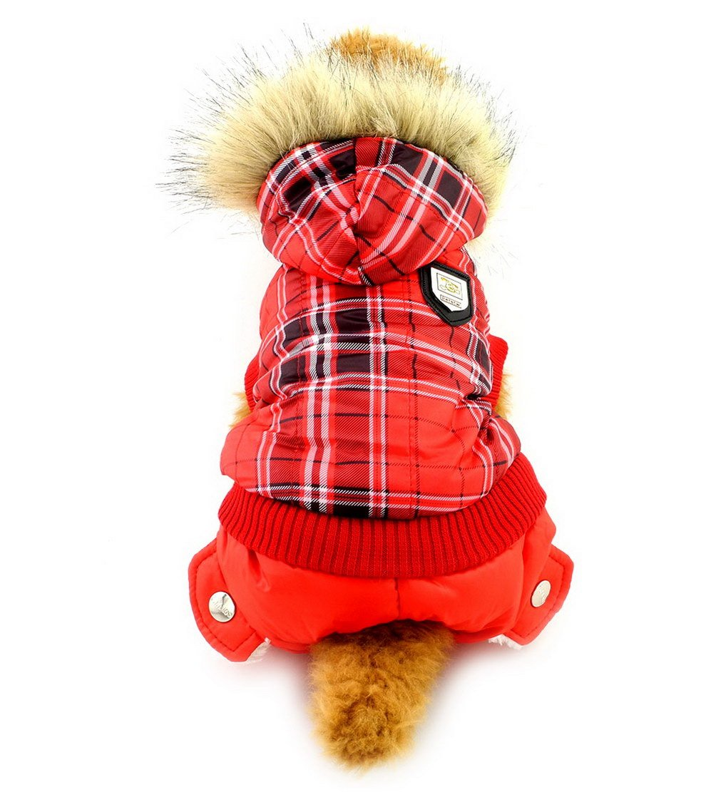 M SELMAI Red Plaid Dog Coat Warm Small Pet Clothes Hooded Dog Jumpsuit Puppy Outfits M