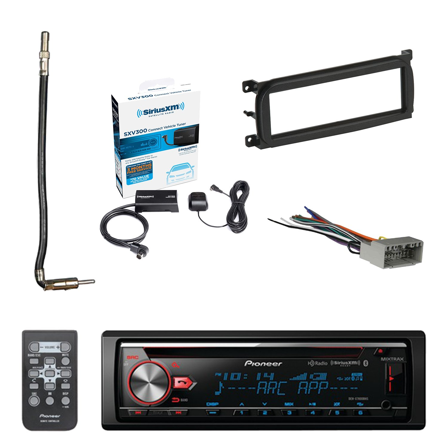 Pioneer CD Bluetooth Receiver with Enhanced Audio Functions with SiriusXM Satellite Radio Connect Vehicle Tuner Kit, Metra Dash Kit For Chry/Dodge/Jeep, Radio Wiring Harness & Antenna Adapter Cable