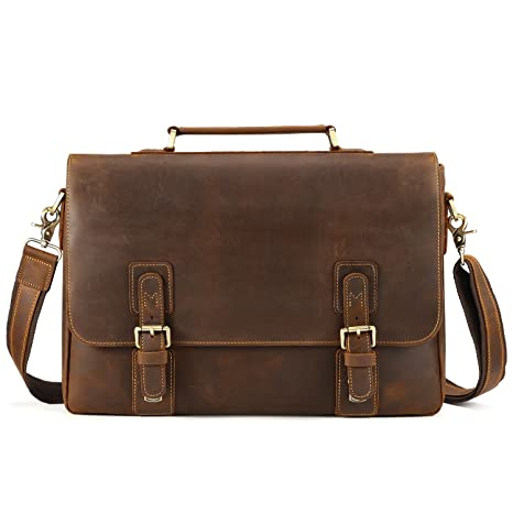 innovative design shop replicas Kattee Vintage Genuine Cow Leather Briefcase Messenger Bag ...