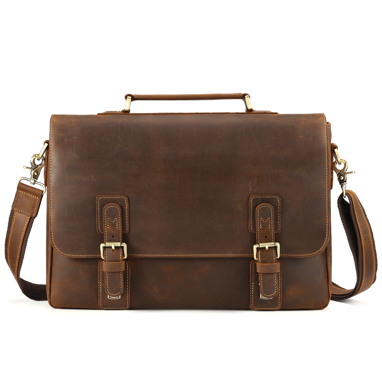 Kattee Men's Crazy Horse Leather Satchel Briefcase, 14'' Laptop Tote Bag by Kattee (Image #3)