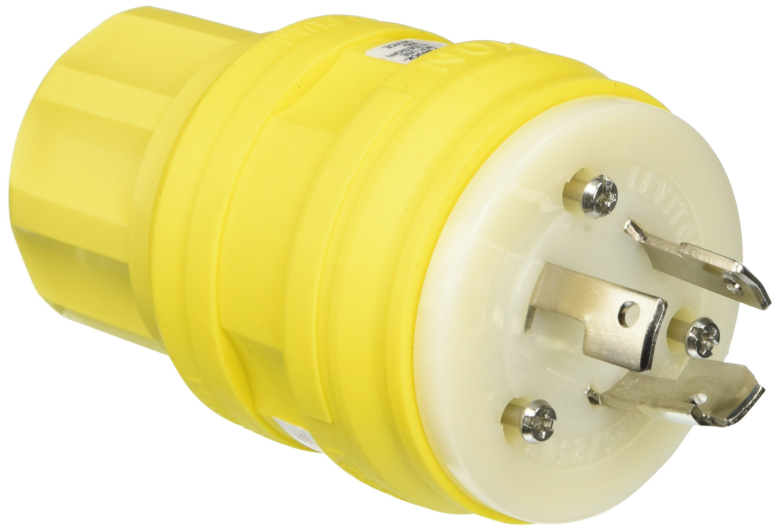 Leviton 28W08 30-Amp, 125/250-Volt, Non-NEMA, 3P, 3W, Locking Plug, Industrial Grade, Non-Grounding, Wetguard, Yellow