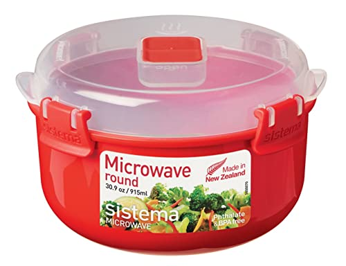 Sistema Microwave Round Container, 915 ml - Red/Clear