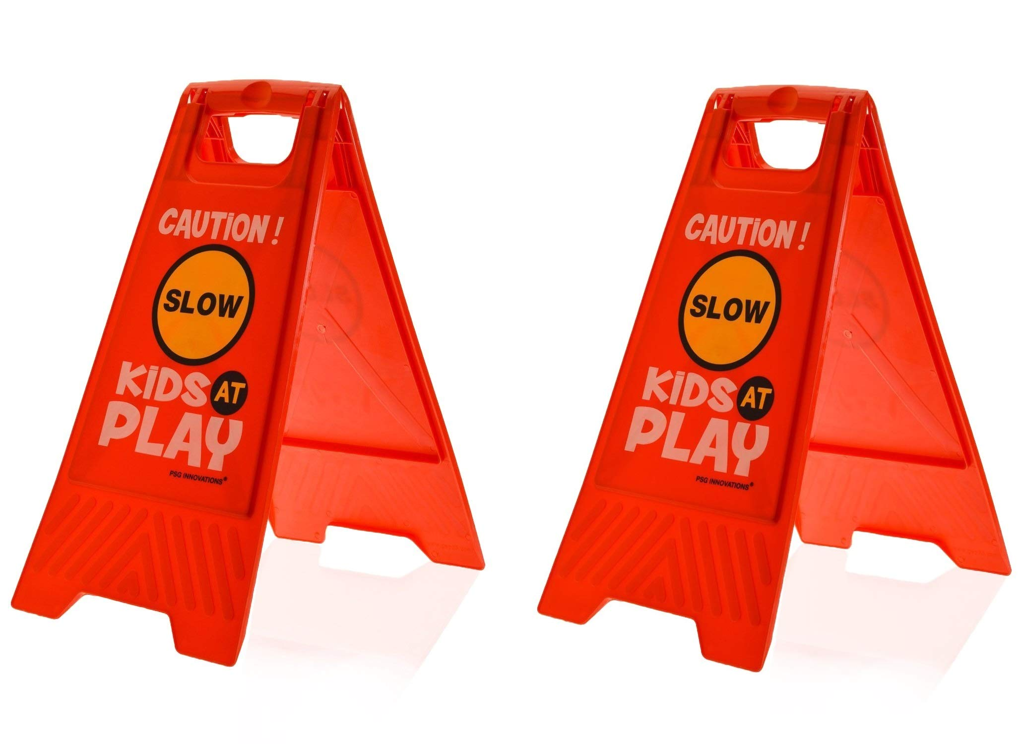 Essentially Yours 2 Pack Kids Playing Safety Floor Sign for Yards and Driveways (Double-Sided, Red) - Caution, Slow, Kids at Play