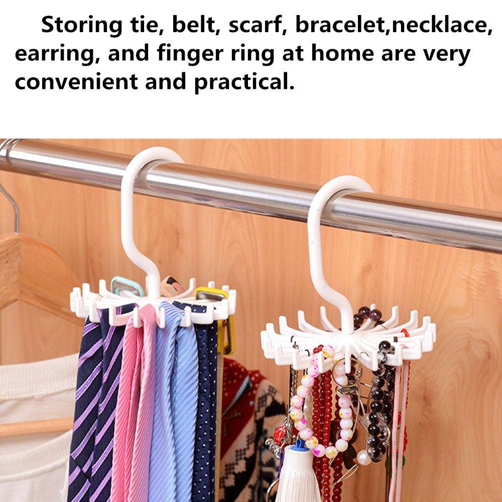 4 Pack Tie Rack 2 White Belt Hanger Holder Organizer for Closet Storage Or Travel Use 2 Black 360/° Rotating with 20 Non-Slip Plastic Hooks