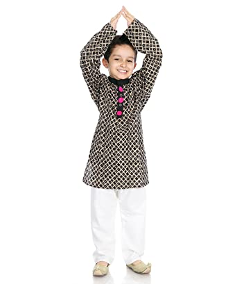 7a96e8d7874 Little pocket store Black And White Cotton Printed Kurta Pajama Set ...