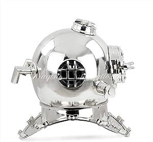 "18"" Nickel Aluminum Scuba Diving Helmet | Nautical Maritime Sea Diver's Decor | Boston MARK V Display Piece Premium Polished Vintage Helmet | Diver's Helmet Replica | Coastal Themed Decor Gift Ideas"