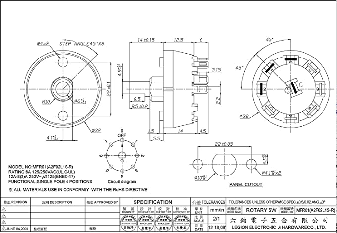 SPDT SP3T SP4T SP5T SP6T SP7T SP8T SP10T. Electronics-Salon High Power 8Amp 250V Rotary Selector Switch and Knob Assortment Kit