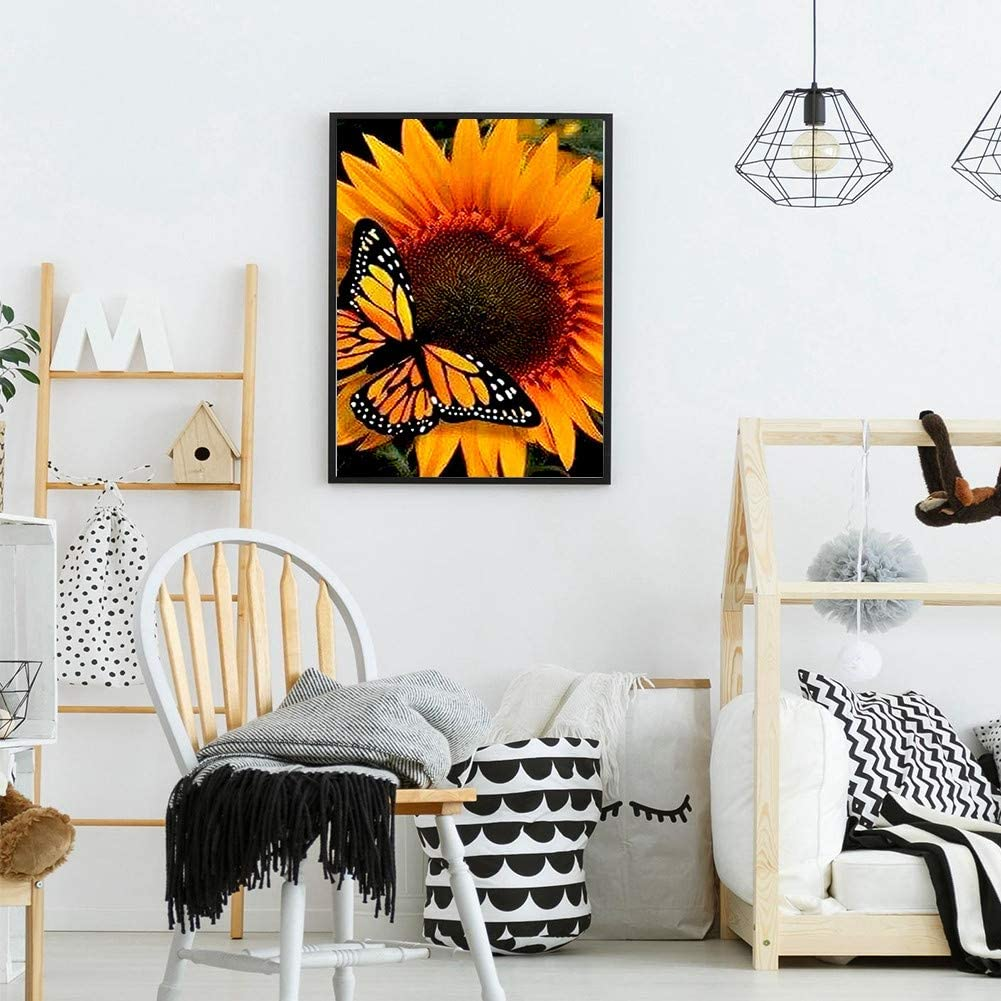Bemaystar 5D DIY Diamond Painting Kits for Adults Kids.Art Crafts for Home Decoration Room Office Sunflower and Yellow Butterfly 11.8 /× 15.7in 1 Pack