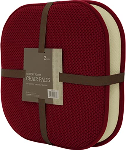 2 Piece Memory Foam Chair Pad Set (Burgundy)  Each Pad Measures 16 Inches
