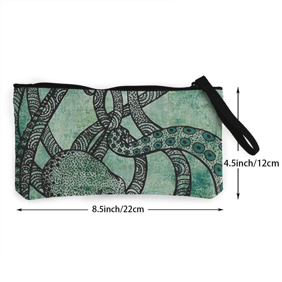 Canvas Cash Coin Purse,Green Octopus Print Make Up Bag Zipper Small Purse Wallets
