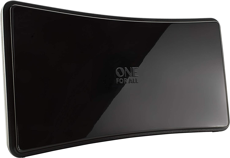 One For All SV9420, Antena de TV Amplificada para Interior, Recibe TDT en un Rango de 15km, Antena Full HDTV Digital, Incluye Cable Coaxial de Alto ...