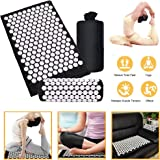 YX® Acupressure Mat and Pillow Massage Set | Organic Eco Cotton Acupuncture Mats Relieve Sciatic, Back, Neck, Headaches and Pain at Pressure Points with Carry Bag (Black)