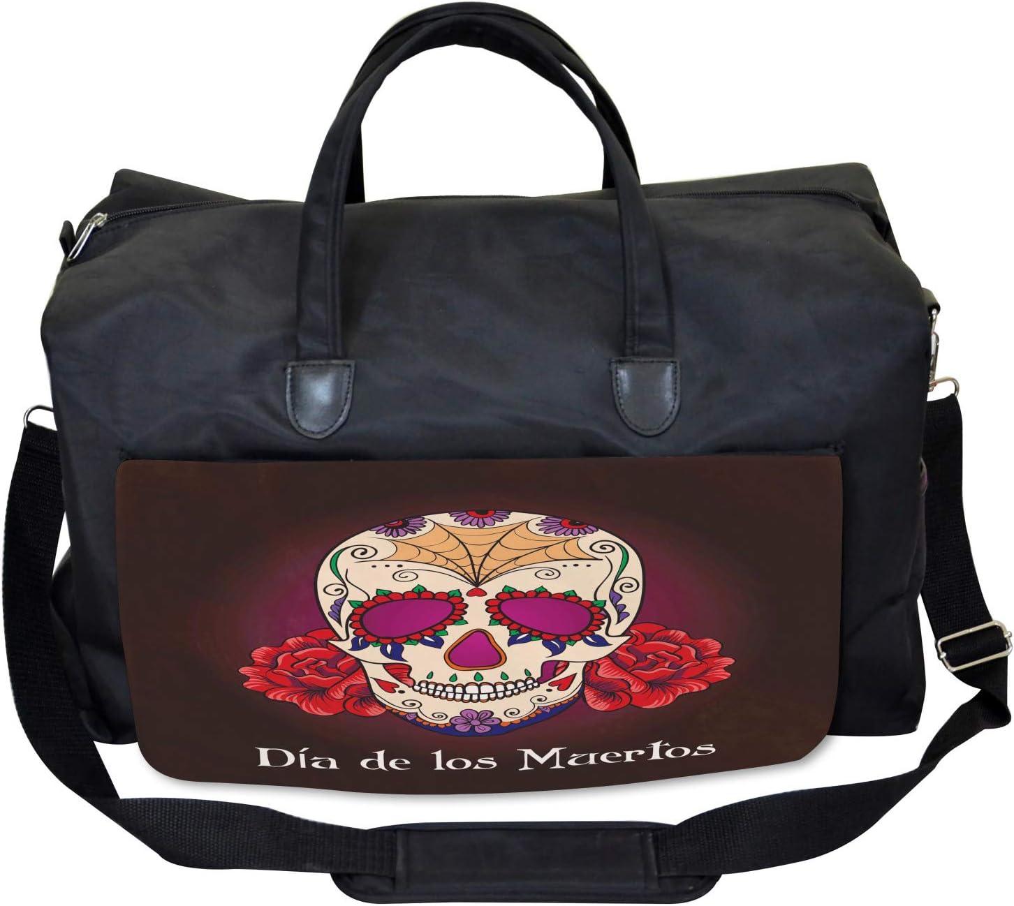 Ambesonne Skull Gym Bag Dia de Los Muertos Large Weekender Carry-on