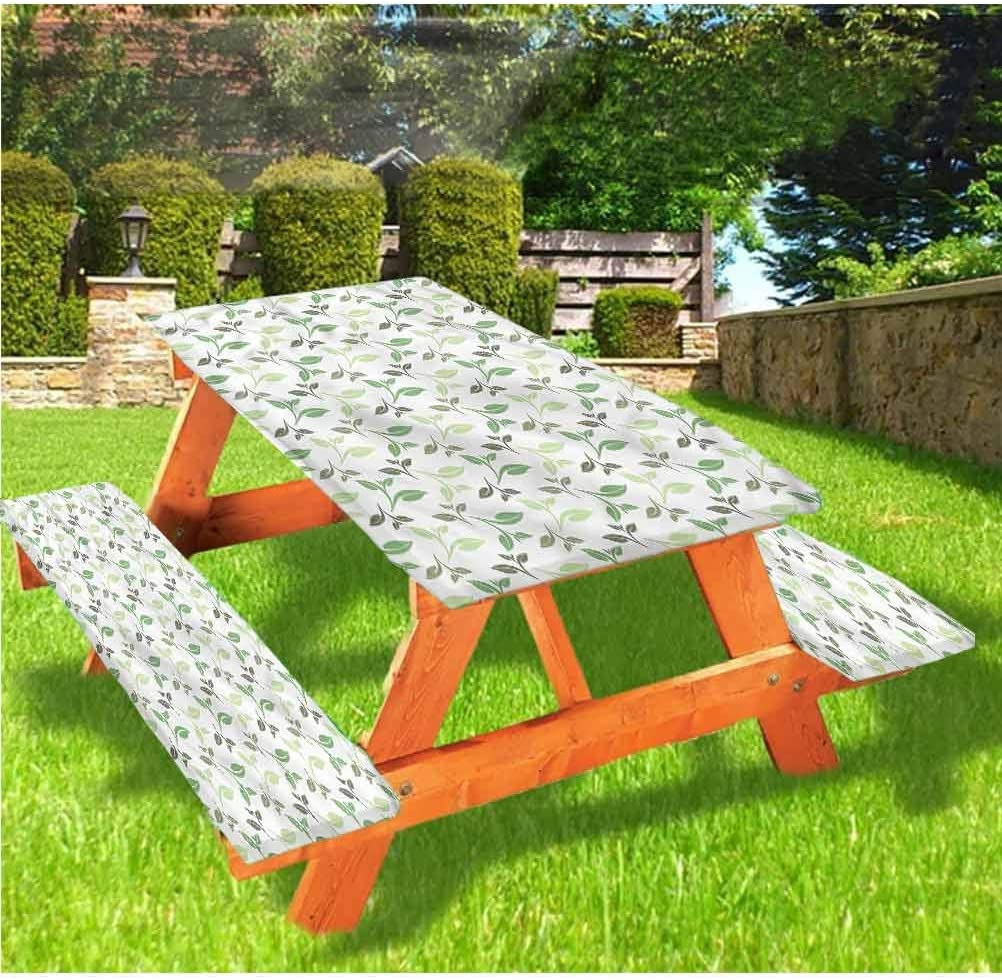LEWIS FRANKLIN Shower curtain Leaf Picnic Table & Benches Cover, Tea Leaves Faded Colors Elastic Edge Fitted Tablecloth,28 x 72 Inch, 3-Piece Set for Travel Christmas Picnics Parties Outdoor