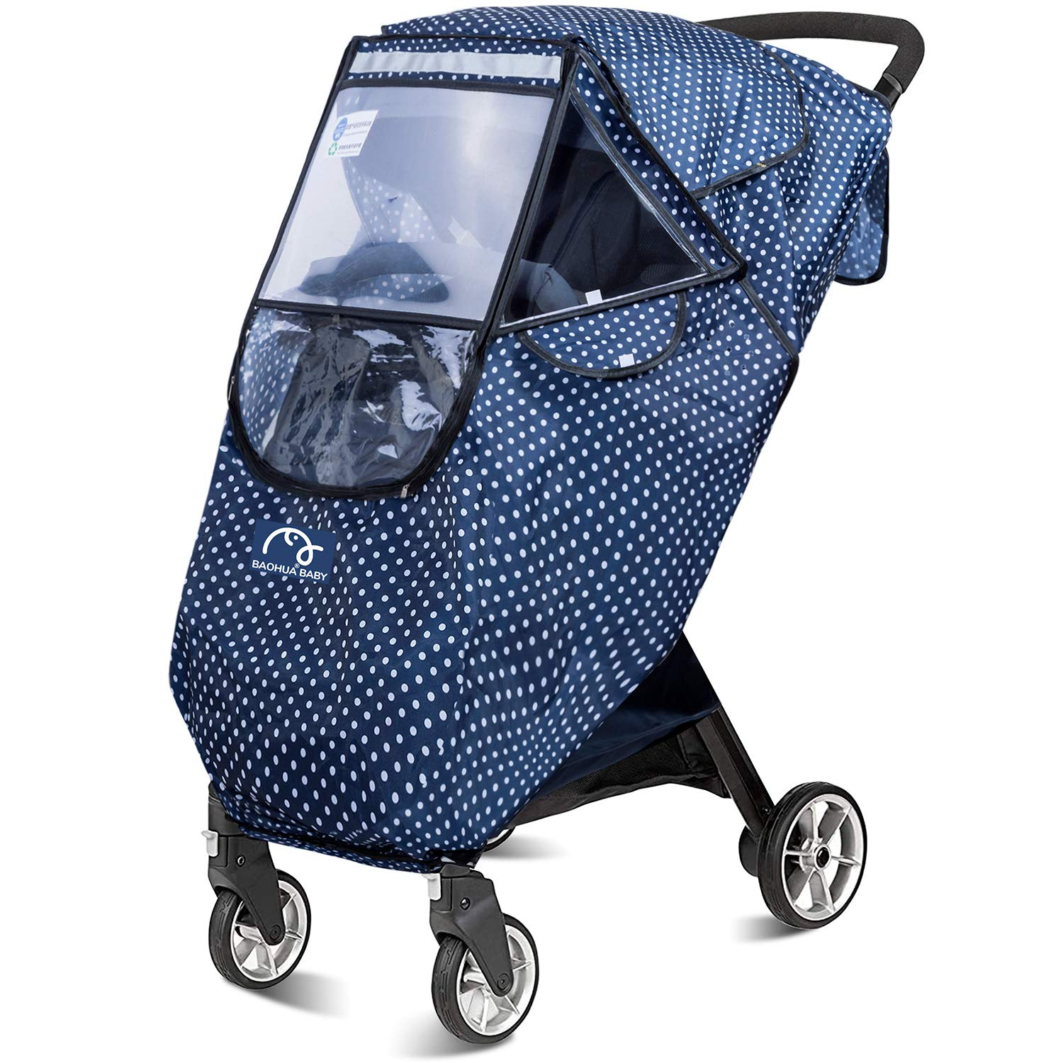 Stroller Rain Cover Snow and Windproof Travel Cover for Single Strollers Premium Stroller Weather Shield - Baby Shnookums Universal Rain Storage Bag Included