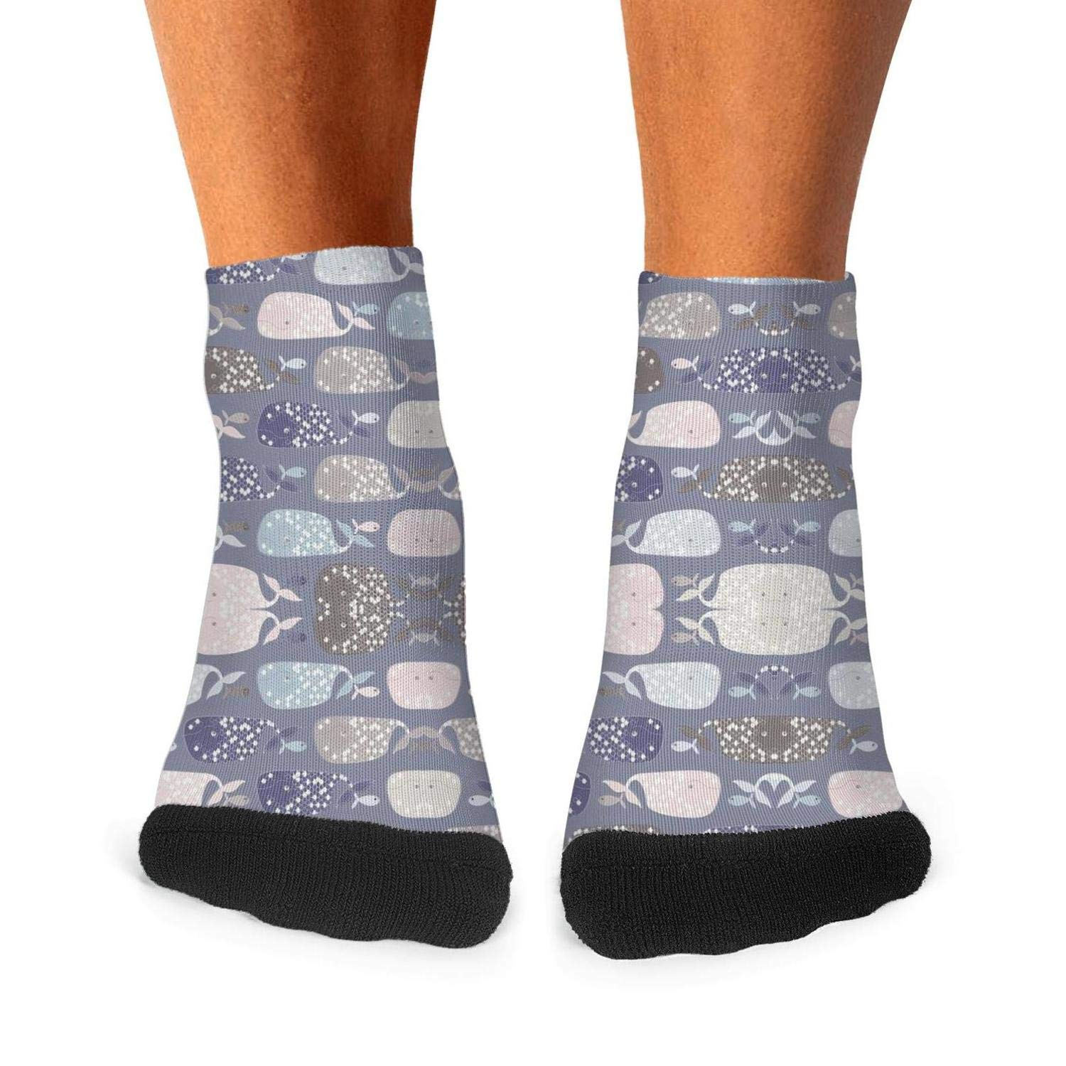 Mens Athletic Low Cut Ankle Sock Oh Whale Cute Narwhal Lover Short Casual Sock