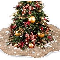 Christmas Tree Skirt 35 inches Xmas Burlap Tree Skirt Embroidered with Merry Christmas, Christmas Decorations Indoor…