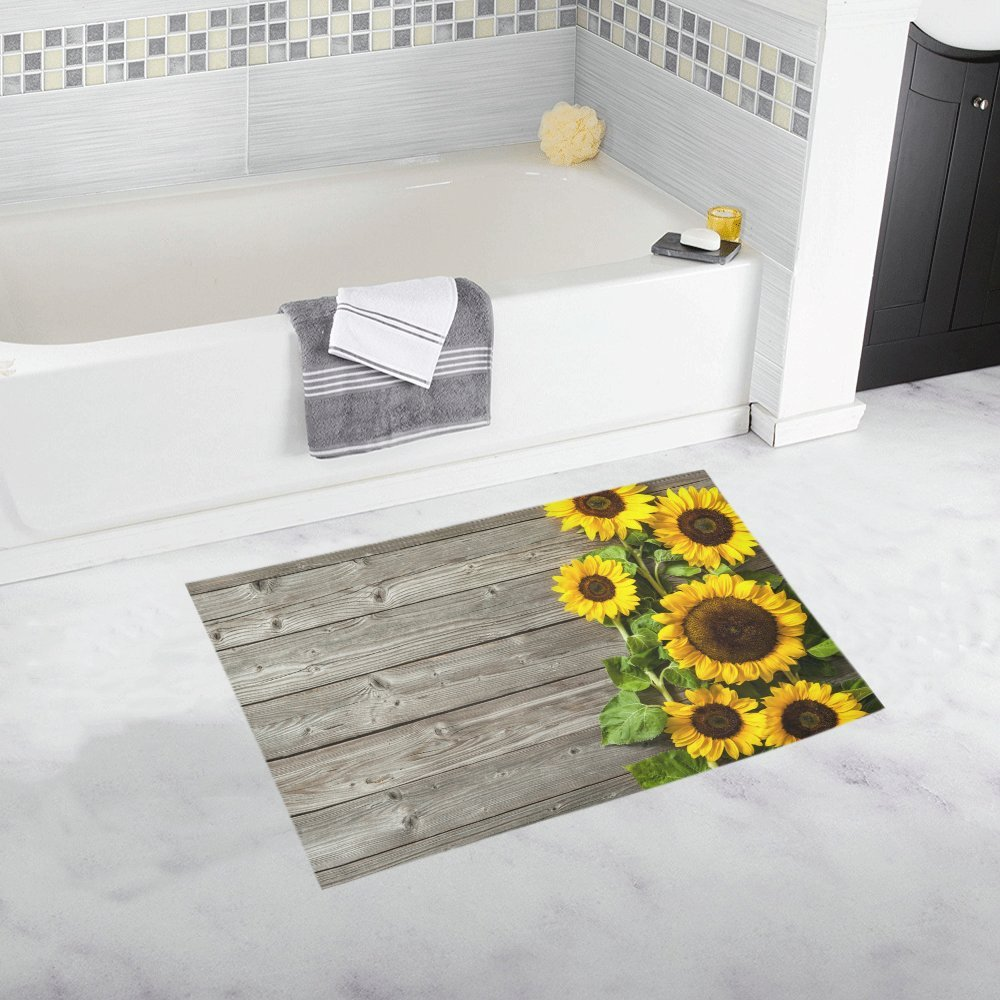 InterestPrint Autumn Sunflowers Wood Pattern Home Decor Non Slip Bath Rug Set Absorbent Floor Mats for Bathroom Tub Bedroom Large Size 20 x 32 Inches