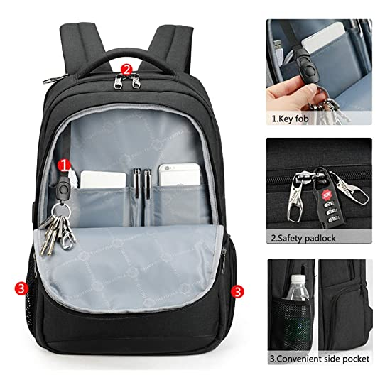 Amazon.com: Men Backpacks Anti theft USB Charging 15.6 Laptop Bag Mochilas Escolar Feminine Male Backpack Notebook College Schoolbag,Grey 15.6inch,United ...
