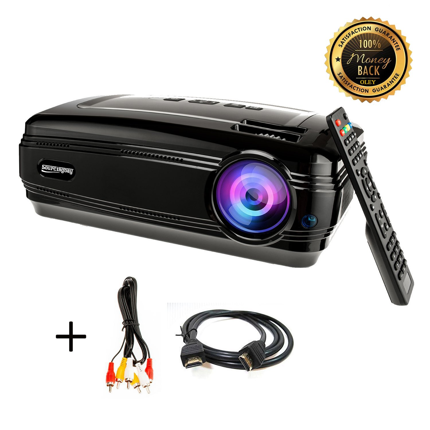 HD projector, Sourcingbay BY58 1080P 3200 Lumens Efficiency LED Video Projectors Multimedia TV Home Cinema Theater Support Xbox VGA USB Speaker HDMI for Outdoor Movie Night,Laptop Smartphone Box by OLEY