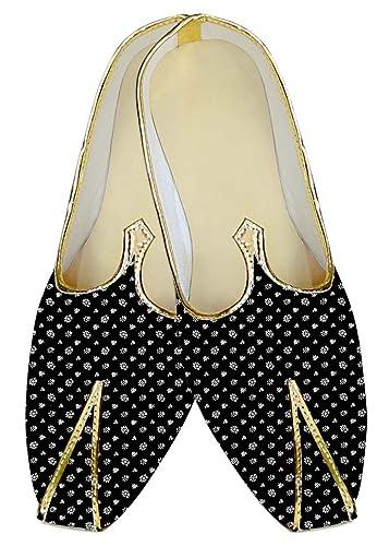 Mens Black Wedding Shoes White Flower Print MJ017027