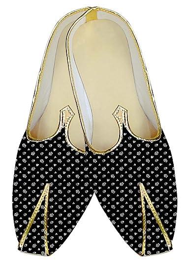 Mens Black Casual Wedding Shoes Flower MJ015724