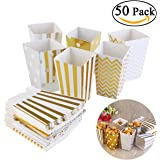 NUOLUX 50 Stück Popcorn-Boxen, Pappe Party Candy Container,Zufällige Farbe,12*7 CM